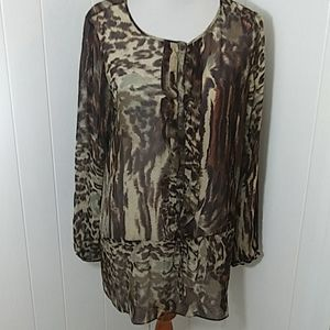 CAbi 100% Silk Animal Print SemiSheer Tunic Blouse